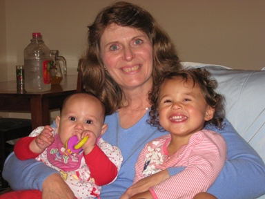 Bev with our two lovely granddaughters in NZ